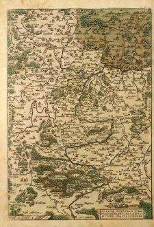 Antike Landkarten, Ortelius, Deutschland, Bayern, Franken, 1579: Franciae Orientalis ( Vulgo / Franckenlant ) Descriptio, Auctore, Sebast. A Rotenhan.
