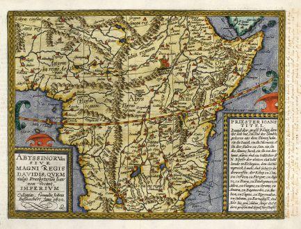 Antique Maps, Quad, Central Africa, Prester John, 1600: Abyssinorum sive Magni Regis Davidis, quem vulgo Presbyterum Joannem Vocant, Imperium