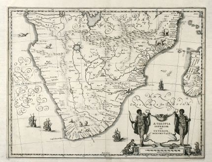 Antike Landkarten, Merian, Südafrika, Südafrika, 1650: Aethiopia Inferior vel Exterior Monomotapa
