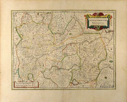 Antike Landkarten, Blaeu, Deutschland, Nordrhein-Westfalen, 1635: Monasteriensis Episcopatus