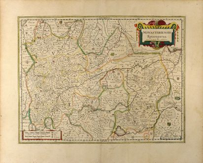 Antique Maps, Blaeu, Germany, North Rhine-Westphalia, 1635: Monasteriensis Episcopatus