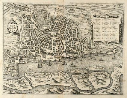 Antike Landkarten, Merian, Indien, Goa, 1646: Goa