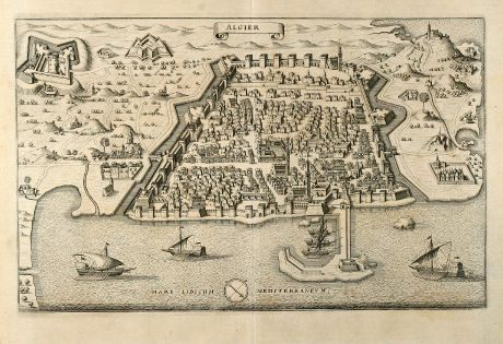 Antique Maps, Merian, Algiers, 1646: Algier