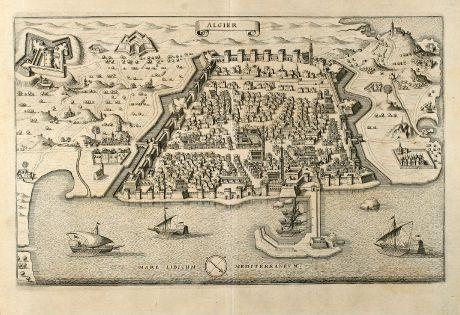Antike Landkarten, Merian, Nordafrika, Algier, 1646: Algier
