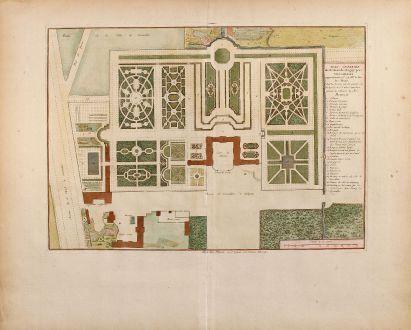 Antike Landkarten, Mariette, Frankreich, Versailles, 1730: Plan general du Chateau de Clagny pres Versailles