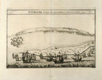 Antike Landkarten, Merian, Südafrika, Angola, Sao Paulo de Luanda, 1646: Eroberung der Statt Loando de Sanct Paolo in Angola in Affrica Gelegen.