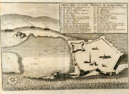 Antike Landkarten, Merian, Nordafrika, Libyen, Tripolis, 1646: Abris der Vestung Tripoli in Barbarien