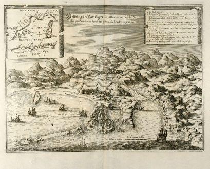 Antike Landkarten, Merian, Nordafrika, Algerien, Jijel, 1646: Abbildung der Statt Gigeri in affrica, wie solche der König in Franckreich durch den Hertzogen de Beaufort eingenohmen.