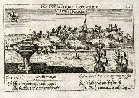 Antike Landkarten, Meissner, Südamerika, Brasilien, Olinda, 1638: Olinda de Phernambuco