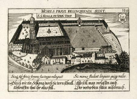 Antike Landkarten, Meissner, Deutschland, Augsburg, 1638: S. S. Udalr. Et Afrae Temp.