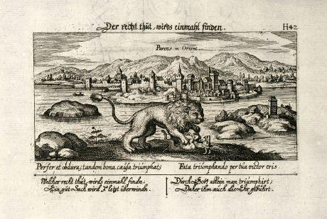 Antike Landkarten, Meissner, Balkan, Kroatien, Parenz, 1638: Parens, in Orient