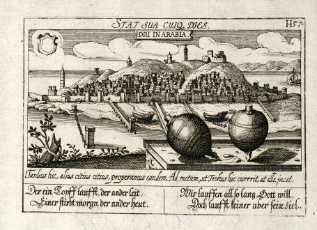 Antique Maps, Meissner, India, Kathiawar, Diu, 1638: Diu in Arabia