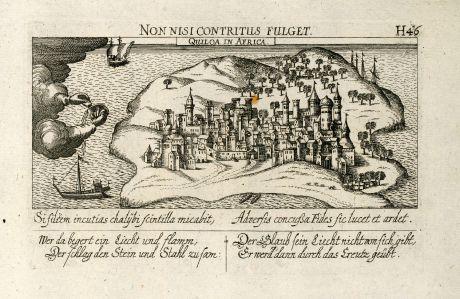 Antike Landkarten, Meissner, Ostafrika, Tansania, Kilwa Kisiwani / Quiloa, 1638: Quiloa in Africa