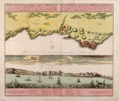 Antike Landkarten, Homann Erben, Mittelmeer, Oran, 1732: Wahrhaffte Abbildung der Barbarischen Vestung Oran