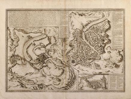 Antike Landkarten, Braun & Hogenberg, Heiliges Land, Jerusalem, 1582 oder 1588: Hierosolyma, Clarissima totius Orientis civitas, Iudaeae Metropolis