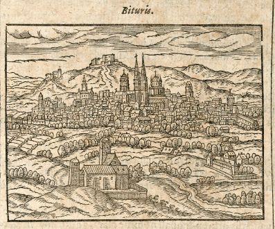 Antique Maps, Saur, France, Bourges, 1608: Bituris