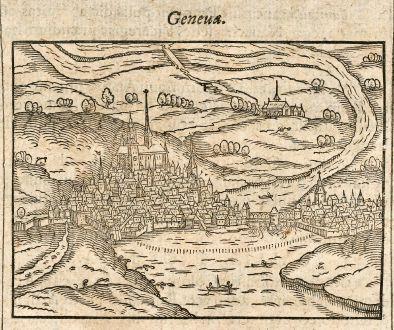 Antike Landkarten, Saur, Schweiz, Genf, 1608: Geneua