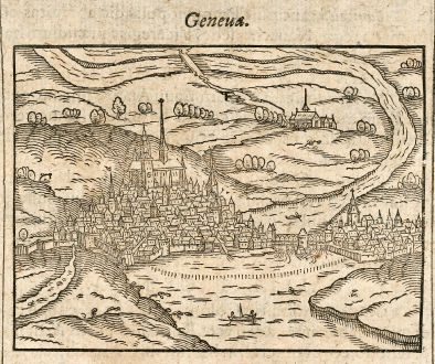 Antique Maps, Saur, Switzerland, Geneva, Geneve, 1608: Geneua