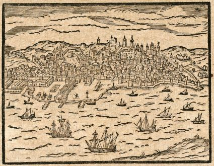 Antique Maps, Saur, Spain - Portugal, Lisbon, Lisboa, 1608: [Lisbona]