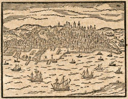 Antike Landkarten, Saur, Spanien - Portugal, Lissabon, Lisboa, 1608: [Lisbona]