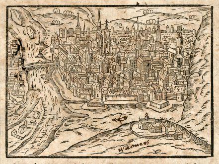 Antike Landkarten, Saur, Frankreich, Rouen, 1608: [Rothomagus/Roan]