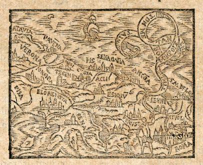 Antique Maps, Saur, Italy, Tuscany, 1608: [Pisa / Verona / Florence / Rom]