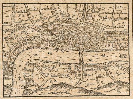 Antike Landkarten, Saur, Britische Inseln, London, 1608: [Londinum/Londres]
