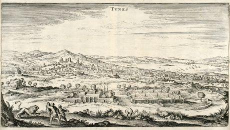 Antike Landkarten, Merian, Nordafrika, Tunis, Tunesien, 1646: Tunes