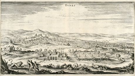 Antique Maps, Merian, Tunis, Tunisia, 1646: Tunes
