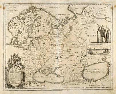 Antique Maps, Merian, Russia, Arkhangelsk, 1646: Tabula Russiae