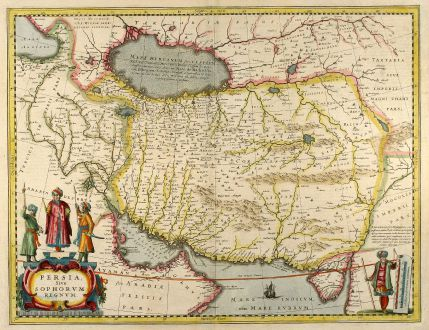 Antique Maps, Janssonius, Middle East, Iran, Iraq, 1650: Persia Sive Sophorum Regnum