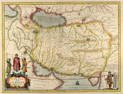 Antike Landkarten, Janssonius, Mittlerer Osten, Iran, Irak, 1650: Persia Sive Sophorum Regnum