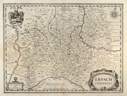 Antike Landkarten, Janssonius, Deutschland, Erbach, Bergstrasse, Odenwald, 1650: Erpach Comitatus