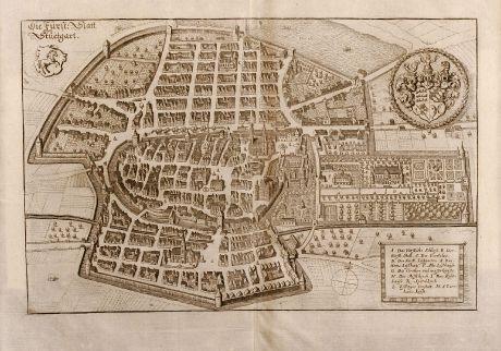 Antike Landkarten, Merian, Deutschland, Stuttgart, 1650: Die Fürst: Statt Stuetgart