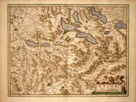 Antike Landkarten, Mercator, Schweiz, Argau, Vierwaldstättersee, Zürichsee: Argow