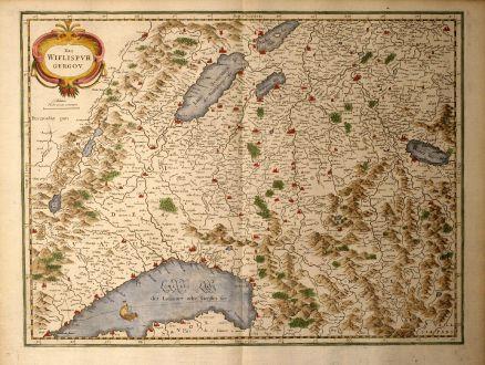 Antike Landkarten, Mercator, Schweiz, Neuenburgersee, Genfersee, Thunersee, 1639: Das Wiflispurgergou