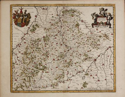 Antike Landkarten, Mercator, Deutschland, Württemberg, 1639: Wirtenberg Ducatus