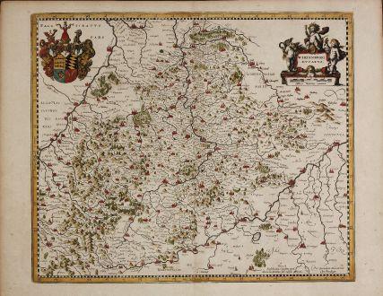 Antique Maps, Mercator, Germany, Württemberg, 1639: Wirtenberg Ducatus