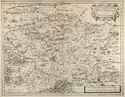 Antike Landkarten, Janssonius, Deutschland, Nordrhein-Westfalen, 1650: Westphalia Ducatus. Amstelodami, Excudebat Ioannes Ianssonius