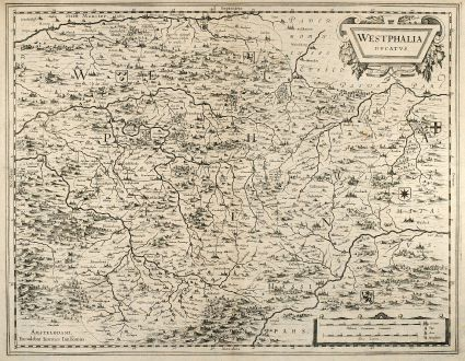Antique Maps, Janssonius, Germany, North Rhine-Westphalia, 1650: Westphalia Ducatus. Amstelodami, Excudebat Ioannes Ianssonius