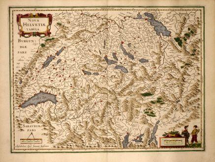 Antike Landkarten, Janssonius, Schweiz, 1640: Nova Helvetiae Tabula.