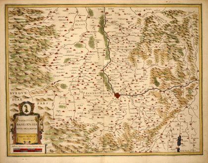 Antike Landkarten, Janssonius, Schweiz, Basel, 1640: Territory Basiliensis Nova Descriptio