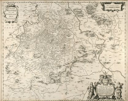 Antique Maps, Hondius, Germany, Saxony, 1640: Marchionatus Misniae una cum Voitlandia