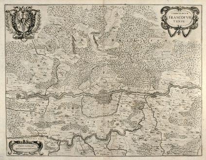 Antike Landkarten, Janssonius, Deutschland, Frankfurt, 1640: Territorium Francofurtense. Amstelodami Apud Ioannem Ianßonium.