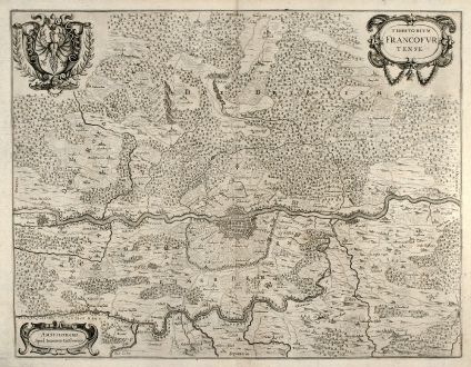 Antique Maps, Janssonius, Germany, Frankfurt, 1640: Territorium Francofurtense. Amstelodami Apud Ioannem Ianßonium.