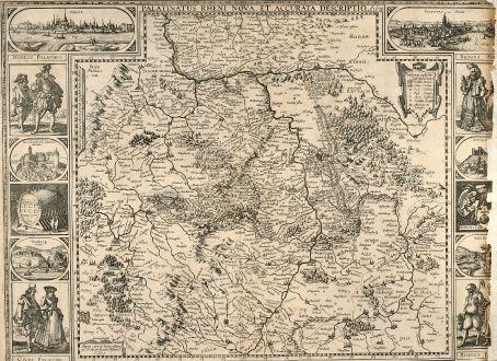 Antike Landkarten, Visscher, Deutschland, Rheinland-Pfalz, 1640: Palatinatus Rheni Nova, et Accurata Description. A. 1630