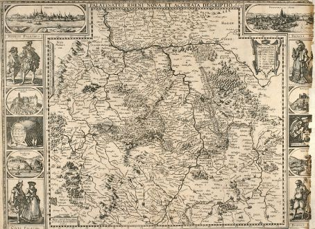 Antique Maps, Visscher, Germany, Rheinland-Pfalz, 1640: Palatinatus Rheni Nova, et Accurata Description. A. 1630