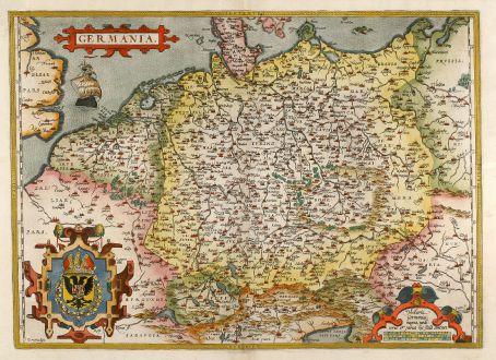 Antike Landkarten, Ortelius, Deutschland, 1595: Germania.