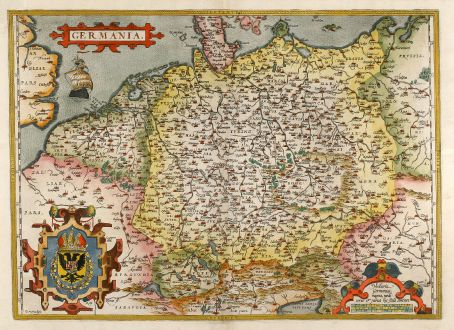 Antique Maps, Ortelius, Germany, 1595: Germania.