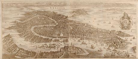 Antike Landkarten, Merian, Italien, Venedig, 1641: Venetia